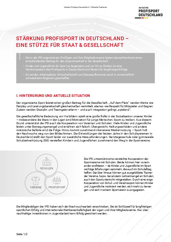 Stärkung Profisport in Deutschland – Eine Stütze für Staat & Gesellschaft