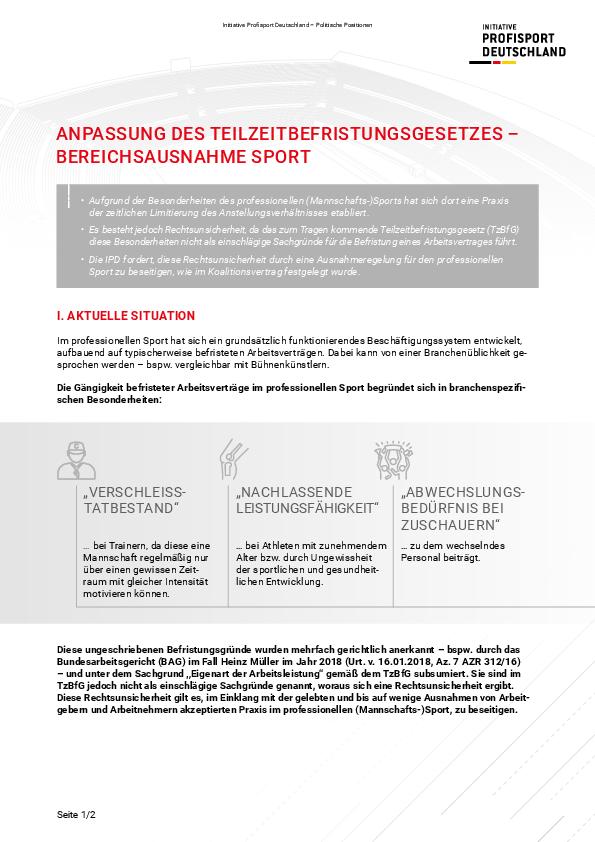 Anpassung des Teilzeitbefristungsgesetzes – Bereichsausnahme Sport
