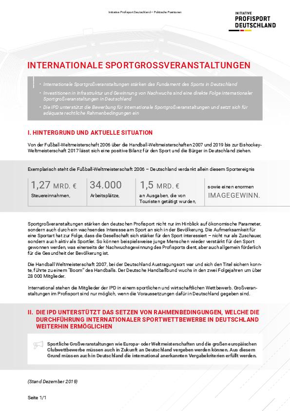 Internationale Sportgroßveranstaltungen